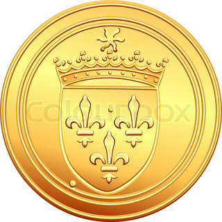 obverse old French coin with the image of the shield crowns the coat of arms, crowned with the sun and the crown