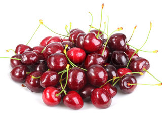 Heap of a dark-red sweet-cherry