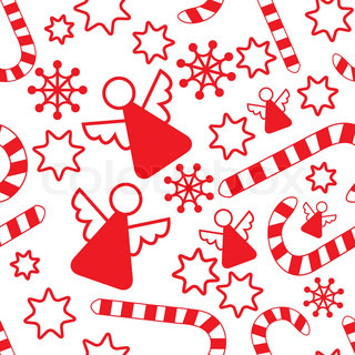 Seamless pattern with christmas angels, candy canes, snowflakes and stars