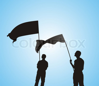 Men with flag silhouettes