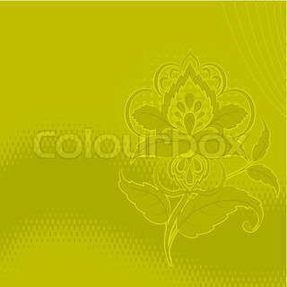 vector, background, symbolical outline flowers on a green