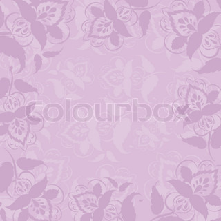 Abstract vector background, symbolical outline flowers on a lilac background
