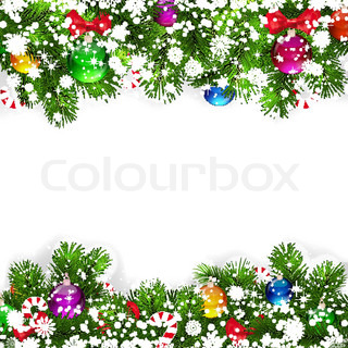 Christmas background with decorated branches of Christmas tree