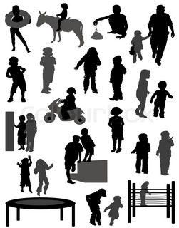 Collection of silhouettes of children
