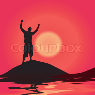 A silhouette of a man by some water with his arms raised up in the air