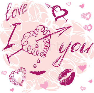 valentine I Love You Vector hand drawn