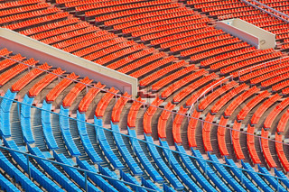 View of the chairs on soccer stadium