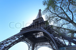Wide-angle upward view of Eiffel Tower, Paris, France