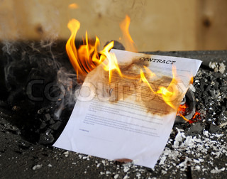 Burning in the flames of the fire document