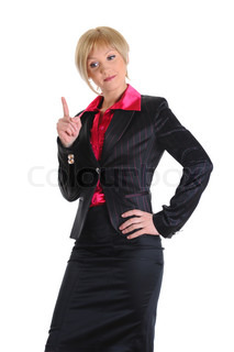 Strict teacher faces a finger, looking down Isolated on white background