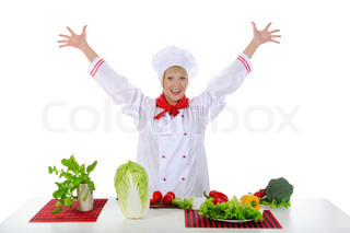 Positive handsome chef prepares vegetables Isolated on white background