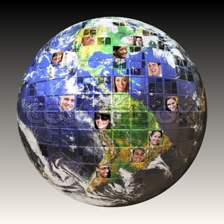 Montage of the earth with a global network of people from all walks of life on different continents isolated over white