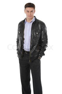 Portrait of young man in a leather jacket Isolated on white background
