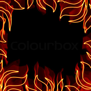 A fiery square border with flaming pieces of foliage