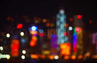 Night lights of the Hong Kong city
