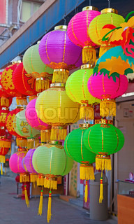 Traditional chinese paper lantern on the market