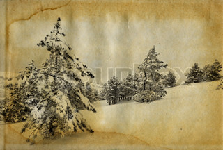 Vintage retro style winter christmas photo grunge background