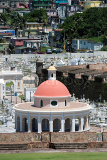 The outer walls of El Morro fort and Santa Maria Magdalena de Pazzis colonial era cemetery located in Old San Juan Puerto Rico