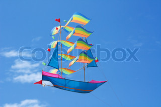 Traditional balinese kite in the sky