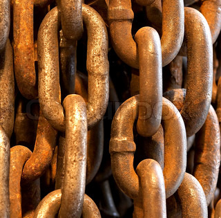 Abstract of Thick Rusty Chain Background Image