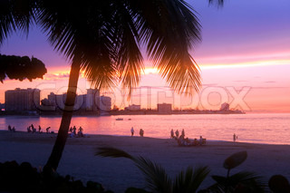 A beautiful sunset in the Isla Verde section of San Juan Puerto Rico