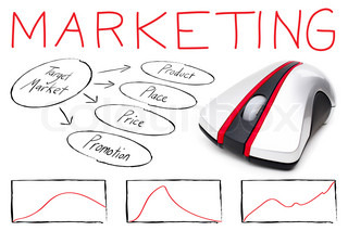Marketing montage illustrating the basics of target marketing with a computer mouse isolated over white