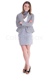 Modern business women standing on isolated white background