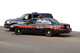 A police car and sport utility vehicle parked in front of a white backgroundThe clipping path for the white area is included