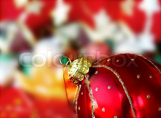 Red Christmas ball on christmas tree ornaments background