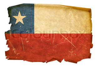 Chile Flag old, isolated on white background