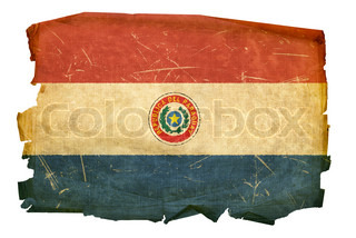Paraguay Flag old, isolated on white background