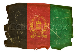 Afghanistan Flag old, isolated on white background