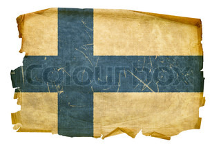 Finland Flag old, isolated on white background