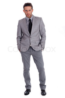 Handsome successful business man in suit full lenth on a isolated white background