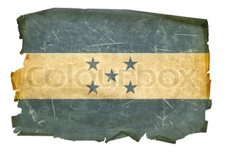 Honduras Flag old, isolated on white background