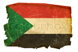 Sudan Flag old, isolated on white background