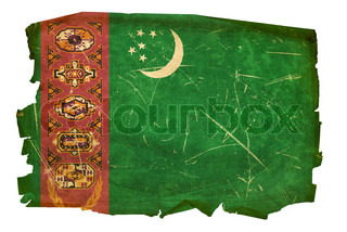 Turkmenistan Flag old, isolated on white background
