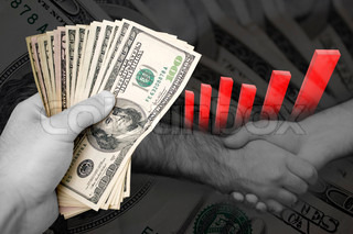 Handful of cash, profit chart, and a firm handshake A great image to denote profits or successful business dealings