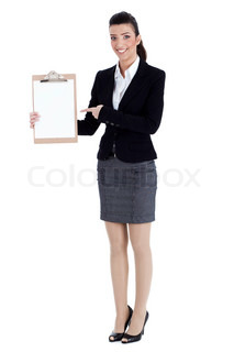 Full length of business woman pointing at the clipboard over white background