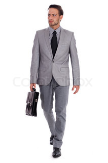 Businessman carrying briefcase and walking on isolated white background