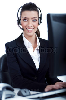 Receptionist at work with headset over isolated white background