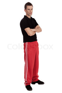 full length of a young fitness men over white background