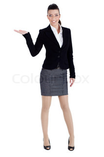 Full length of young woman pointing copysapce over white background