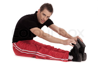 Fitness men stretches his leg before and exercising over white background