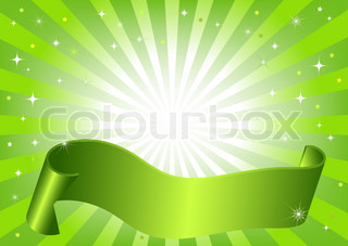 Abstract green frame with rays, stars and wave ribbon (vector)