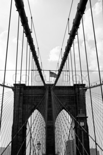 The famous and historic Brooklyn Bridge located in New York City