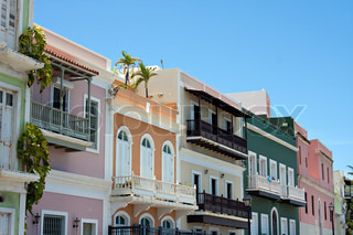 A row of colorful pastel painted buildings in Old San Juan Puerto Rico