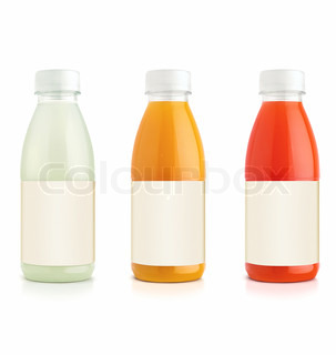 Orange and grapefruit and vanille juice bottles