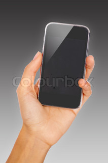 Woman's hand with a glossy 3D mobile phone, close-up shot