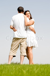 young couple hug,focues on the women